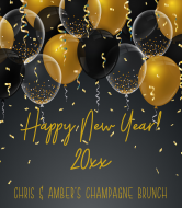 Holiday Champagne Label - Black and Gold Balloons