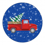 Holiday Label - Retro Red Truck Christmas