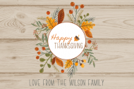 Holiday Mini Wine Label - Hand Drawn Thanksgiving Wreath