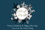Holiday Mini Liquor Label - Natural Cotton Christmas Wreath