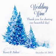 Wedding Mini Wine Label - Watercolor Blue Trees