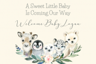 Baby Mini Champagne Label - Winter Baby Animals