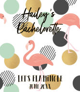 Wedding Wine Label - Trendy Tropical Flamingo