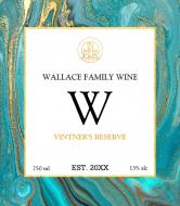 Expressions Wine Label - Aqua Marble