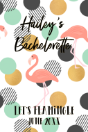 Wedding Large Wine Label - Trendy Tropical Flamingo