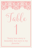 Wedding Table Number Label - Love Story Wedding