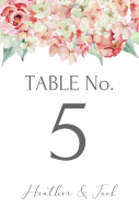 Wedding Table Number Label - Hydrangea