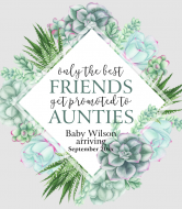 Baby Wine Label - Succulents Frame
