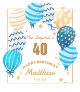 Birthday Wine Label - Patterned Balloons