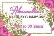 Birthday Mini Champagne Label - Garden Party