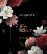 Anniversary Wine Label - Elegant Peonies