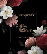 Anniversary Champagne Label - Elegant Peonies