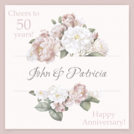 Anniversary Mini Wine Label - Floral Anniversary