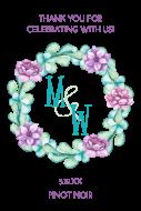 Wedding Mini Wine Label - Peony Wreath