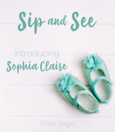 Baby Wine Label - Sip and See Turquoise Shoes