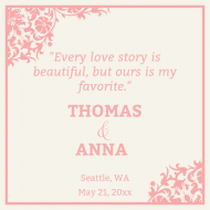 Wedding Growler Label - Love Story Wedding