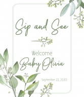 Baby Wine Label - Foliage Frame