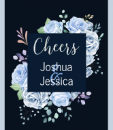 Wedding Wine Label - Colorful Floral Cheers