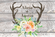 Wedding Mini Wine Label - Rustic Antlers Spring Floral