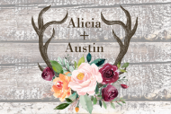 Wedding Mini Wine Label - Rustic Antlers Autumn Floral