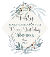 Birthday Wine Label - Watercolor Frame With Leaves