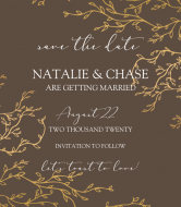 Wedding Wine Label - Save the Date Gold Branches
