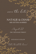 Wedding Large Wine Label - Save the Date Gold Branches