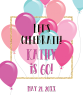 Birthday Champagne Label - Festive Colorful Balloons With Gold Glitter Frame