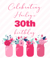 Birthday Cider Label - Floral Mason Jars