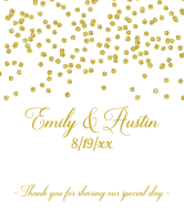 Wedding Wine Label - Gold Confetti