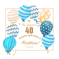 Birthday Drink Coaster - Patterned Balloons