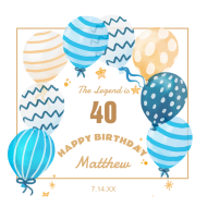 Birthday Growler Label - Patterned Balloons