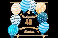 Birthday Mini Wine Label - Patterned Balloons