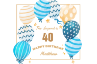 Birthday Mini Champagne Label - Patterned Balloons