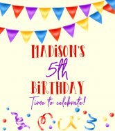 Birthday Cider Label - Colorful Streamers and Confetti