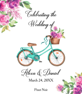 Wedding Wine Label - Floral Bicycle