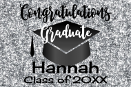 Graduations Mini Champagne Label - Graduation Silver Glitter