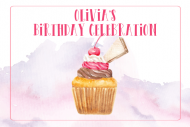 Birthday Mini Wine Label - Watercolor Cupcake