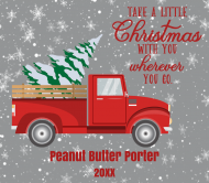 Holiday Beer Can Label - Retro Red Truck Christmas