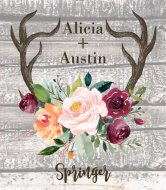 Wedding Wine Label - Rustic Antlers Autumn Floral