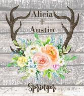 Wedding Wine Label - Rustic Antlers Spring Floral