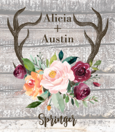 Wedding Champagne Label - Rustic Antlers Autumn Floral