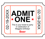 Birthday Beer Label - Admit One
