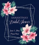 Wedding Wine Label - Silver Geometric Watercolor Floral