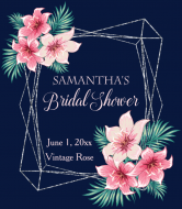 Wedding Champagne Label - Silver Geometric Watercolor Floral