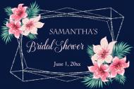 Wedding Mini Wine Label - Silver Geometric Watercolor Floral