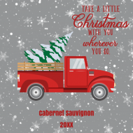 Holiday Mini Wine Label - Retro Red Truck Christmas