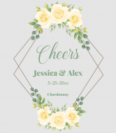 Wedding Wine Label - Yellow Roses Geometric Frame