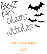 Holiday Wine Label - Cheers Witches