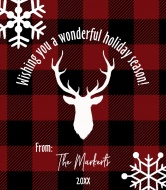 Holiday Wine Label - Rustic Buffalo Plaid